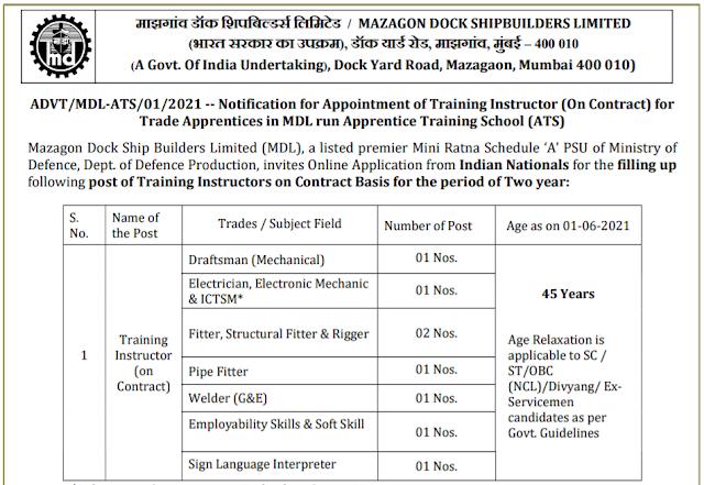 MDL Recruitment - 8 Training Instructor - Last Date: 14th June 2021