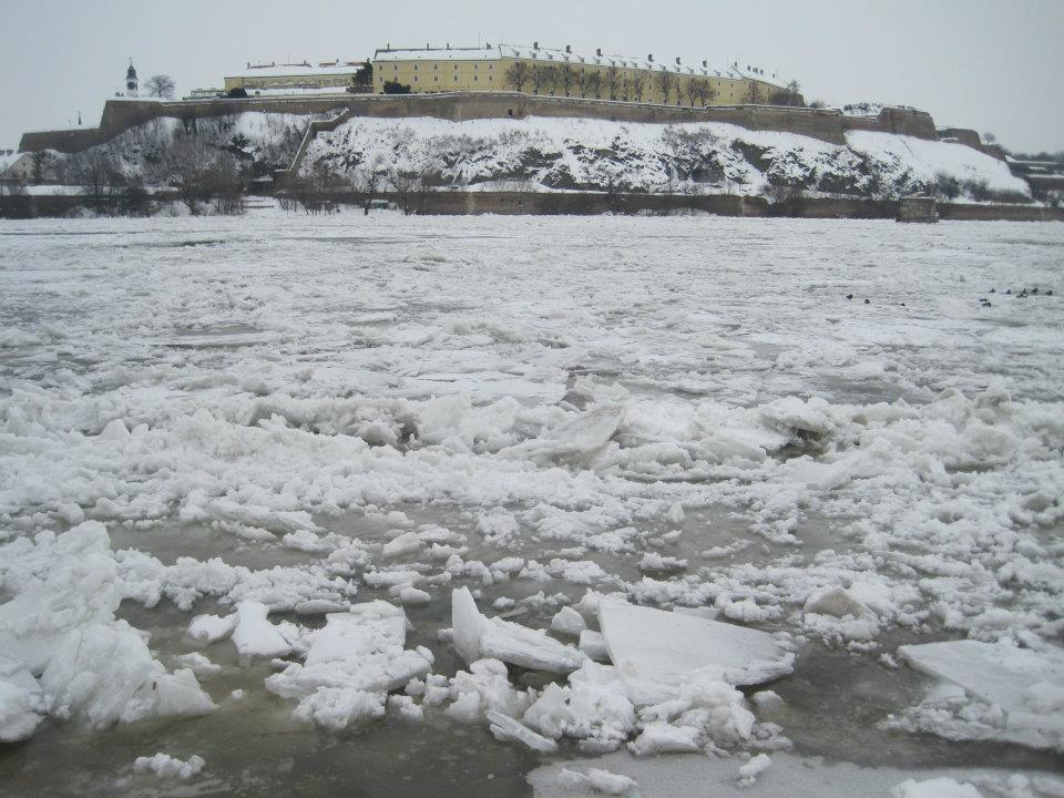 Petrovaradin Fortess on the Frozen Danube