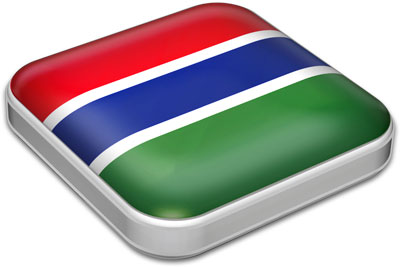 Flag of Gambia with metallic square frame