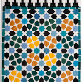 BENEDICTION - Cathy Picaut - Piécé et quilté machine - Reproduction de la mosaïque d'une niche à l'entrée de la Salle de La Barca - Palais de L'Alhambra de Grenade - Espagne