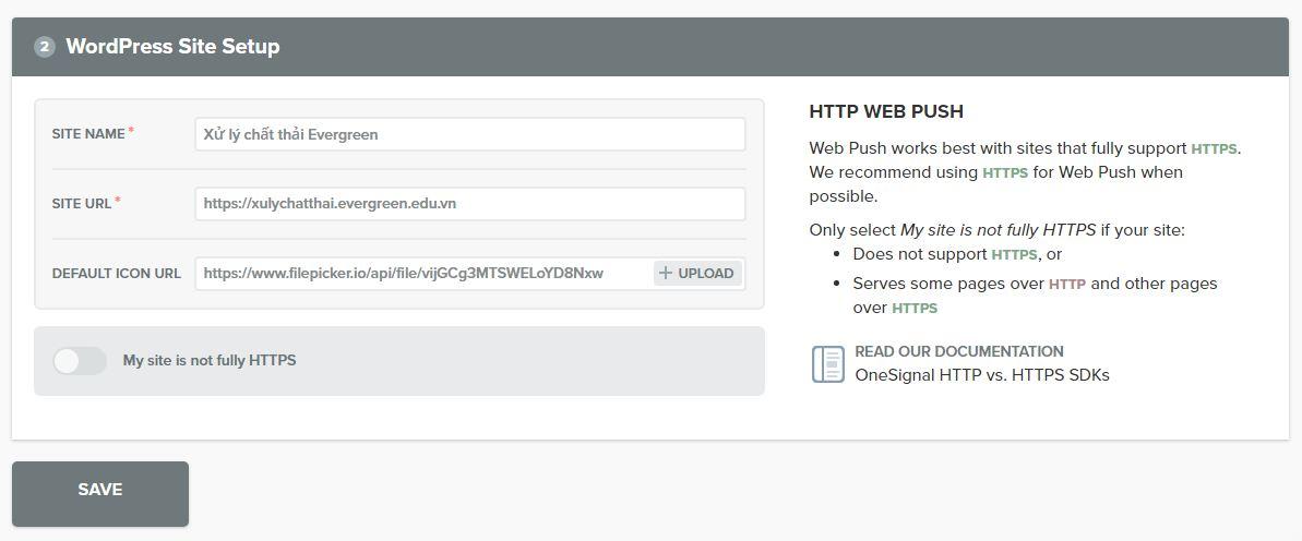 Điền thông tin Website