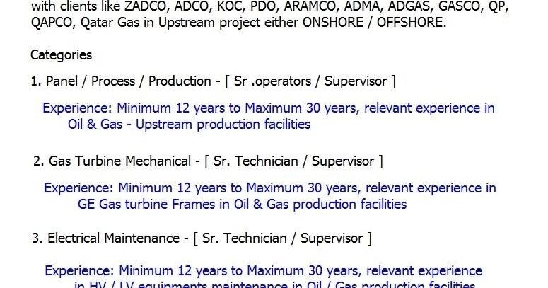 Oil and Gas, Engineering Jobs: Operators/Technicians/Supervisors Job UAE