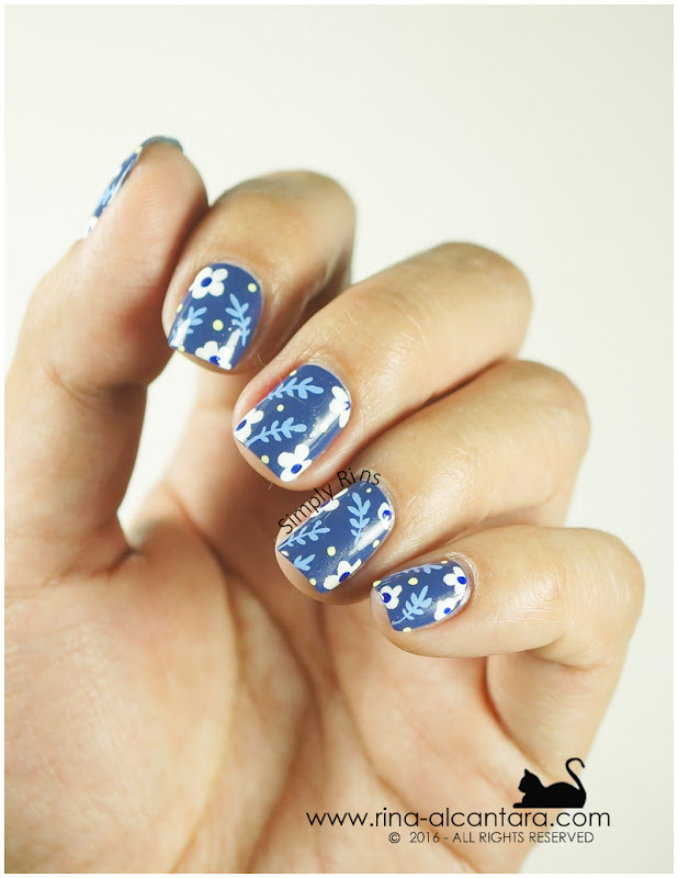 Don't Be Blue Nail Art - Freehand Nail Design