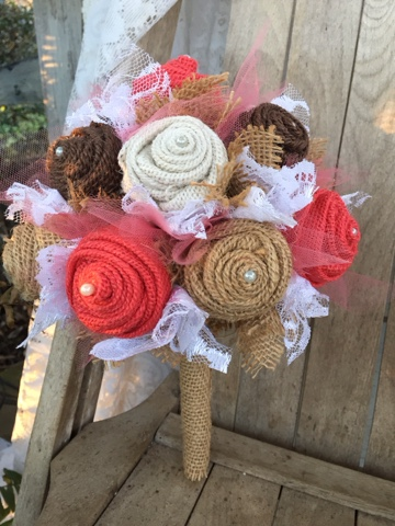 coral burlap wedding flowers