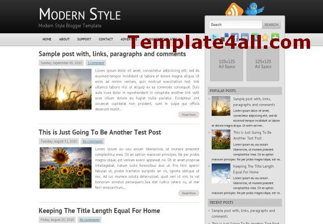 Free Magazine Black Grey Blogger Template