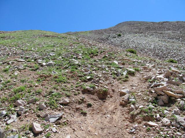 Steep climb to the Peale ridge