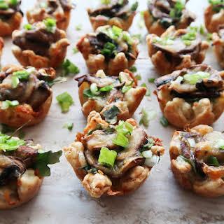 Mushroom Arugula Cheese Tarts.
