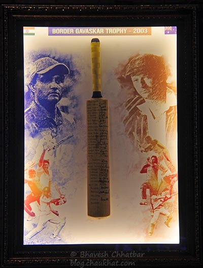 Cricket bat with signatures, from Border Gavaskar Trophy 2003, at Toss Sports Lounge Koregaon Park