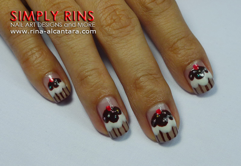 Chocolate Cupcake Nail Art Design 02