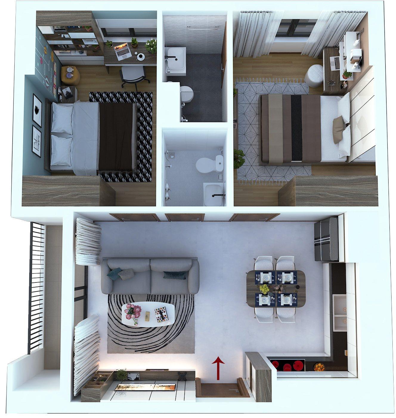 Thiết kế căn hộ Bcons Suối Tiên 2 phòng ngủ căn góc