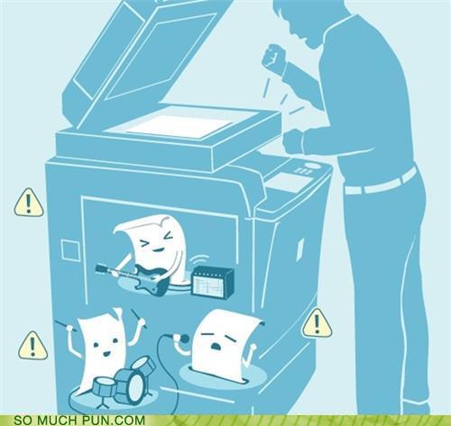 cartoon of paper jamming (playing instruments) inside a copy machine