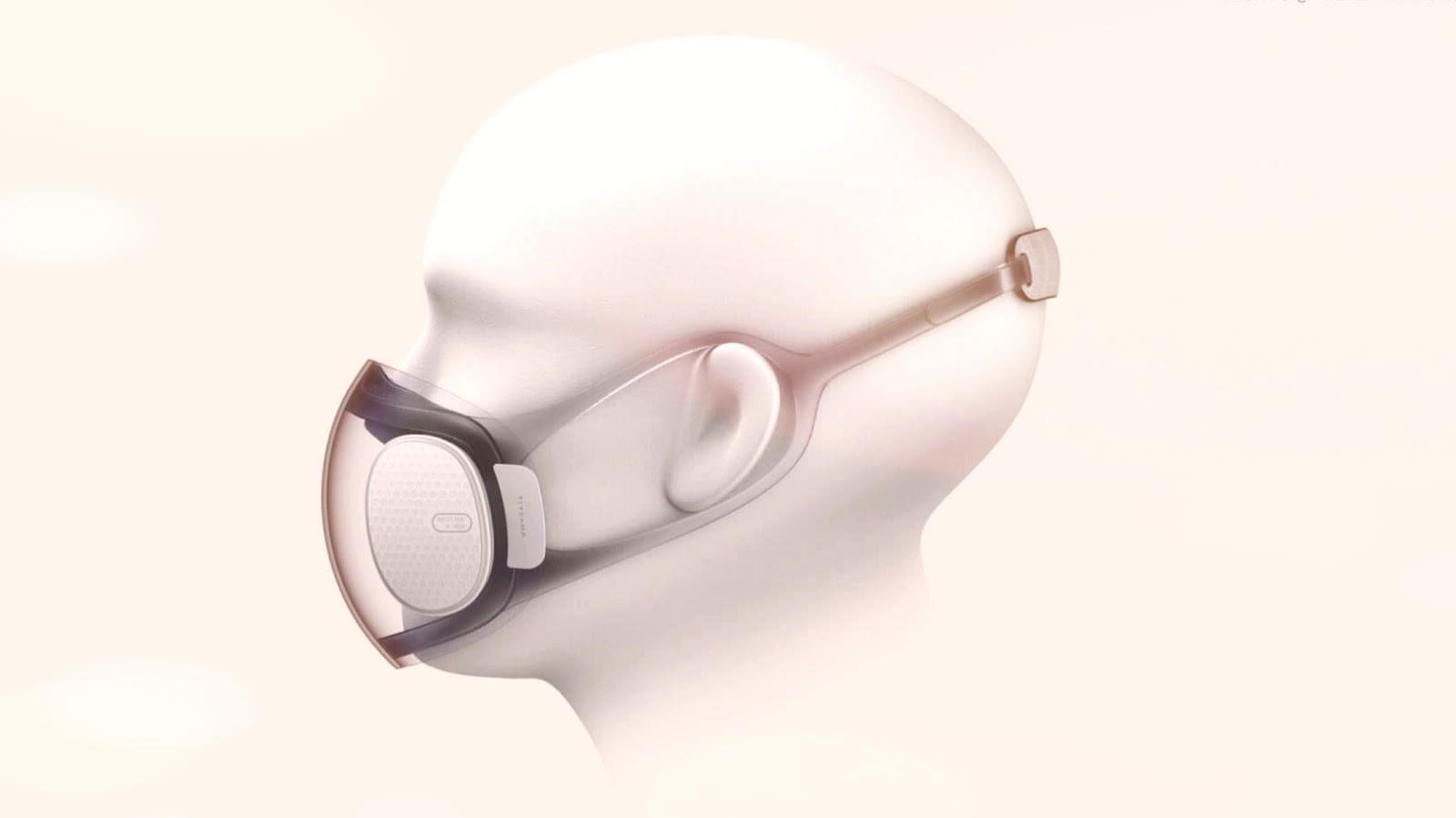 mascarilla transparente que se autolimpia y se carga a través del puerto USB