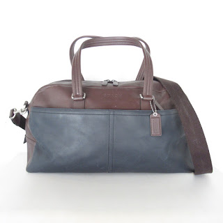 Coach Blue and Brown Leather Weekender
