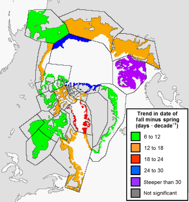 Trend map of the length of the summer season for the shallow parts of each Polar Bear Specialist Group (PBSG) region. Graphic: Stern and Laidre, 2016 / The Cryosphere