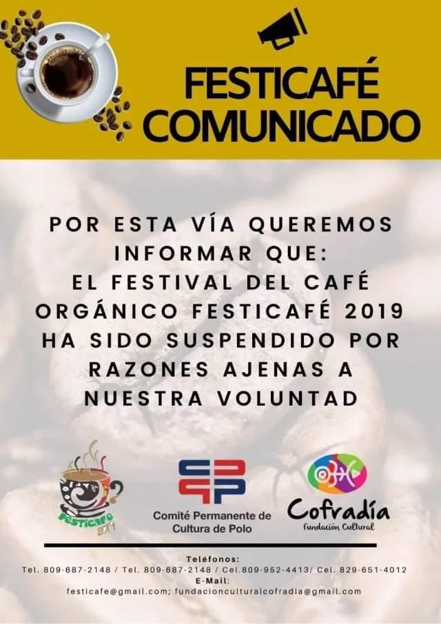 Polo,Barahona RD: Suspenden El Festicafe (Festival del Café Orgánico), por varias razones. noviembre 14, 2019