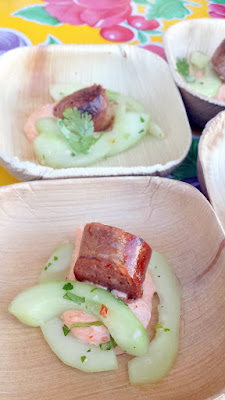 Stephanie Pearl Kimmel of Marché presented Merguez Sausage with Cucumber Salad and Harissa Yogurt