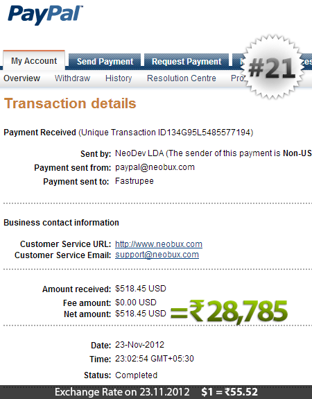 Neobux Payment Proof 21
