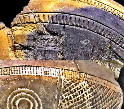 Ejemplos de cerámica de Cogotas. En la superior se aprecian los motivos excisos e incisos. En la inferior los incisos, conservándose parte de la pasta blanca decorativa. Fuente: Wikipedia.