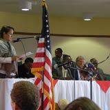Acting country director Heather Robinson speaks