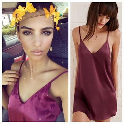 Emily Ratajkowski on Twitter in Merlot Reformation Adriana Slip Dress
