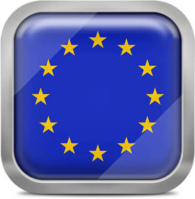 European Union square flag with metallic frame
