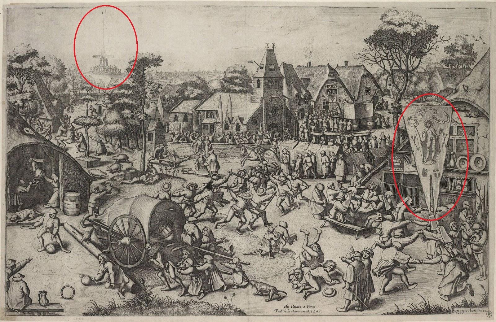 Bruegel, de Sint Joriskermis met op de achtergrond een schietstand en een wimpel die verwijst naar de schutterij...
