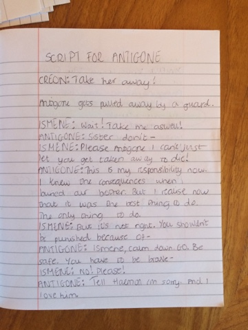 script modern day antigone Learn about antigone's moving speech, in which sophocles' devoted protagonist reflects upon her choices and their consequences.
