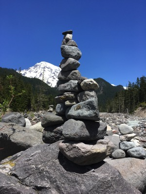 Stacked stones with Mt. Rainier in the background