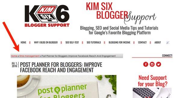 CSS markup for Blogger Breadcrumb Menu