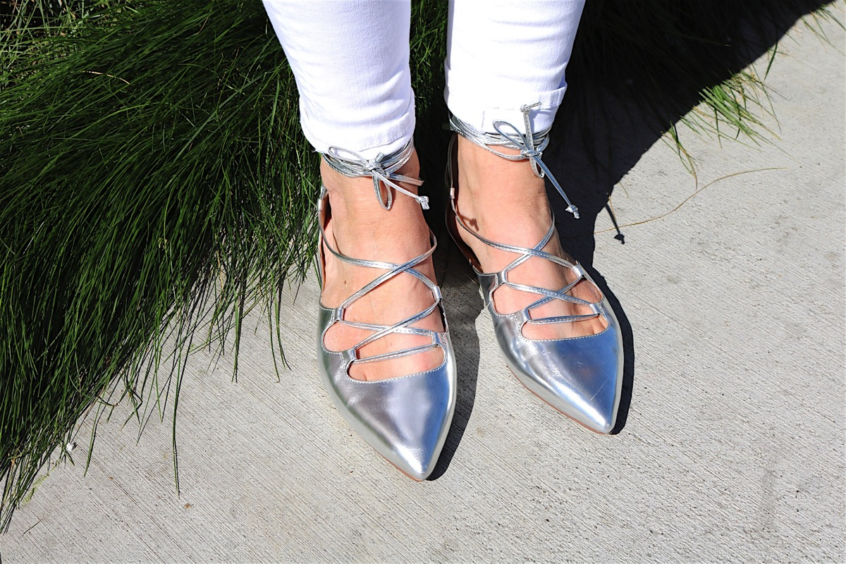 Silver Lace Up Flats