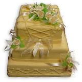 5. kép: Esküvői torták - Esküvői három szintes rózsás bézs színű torta