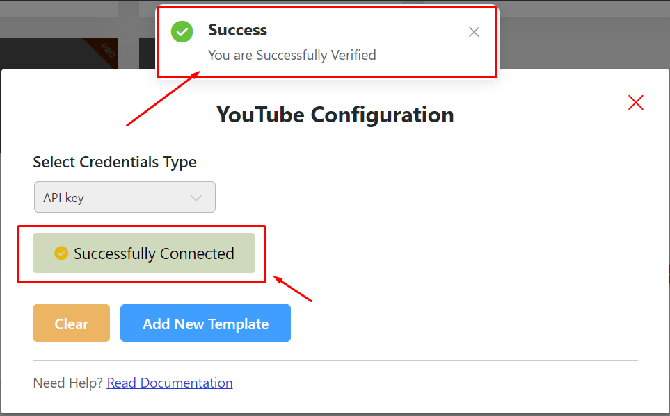 successful verification of YouTube configuration