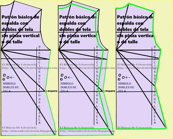 Transformación de patrón básico de espalda con dobles de tela sin pinzas en patrón para patrón de punto con elasticidad máxima