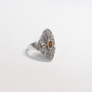 Sterling Silver, 18K Gold, and Citrine Ring