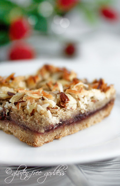 Gluten free raspberry coconut almond cookie bars