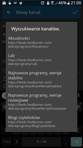 Handy News Reader ver. 0.7.21 - Wyszukiwanie kanałów RSS