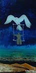 209 - Flying Freedom - 2008 31 x 61 - Acrylique, sable, or sur résine précieuse