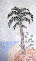 'Bad- Mosaik mit Palme', Mosaik- Steine, Marmor, Edelsteine, Muscheln, 2,50x1,62, Juli/ August 2011