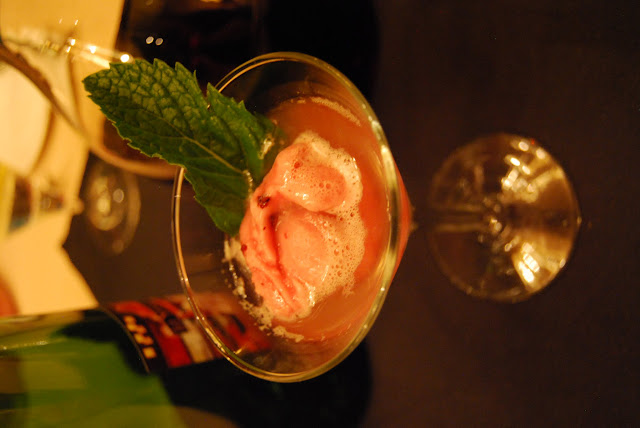 Pomegranate blueberry sorbet served in champagne at The Steakhouse / Credit: Bellingham Whatcom County Tourism