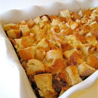 Apple Toffee French Toast Bake with Apple Syrup.