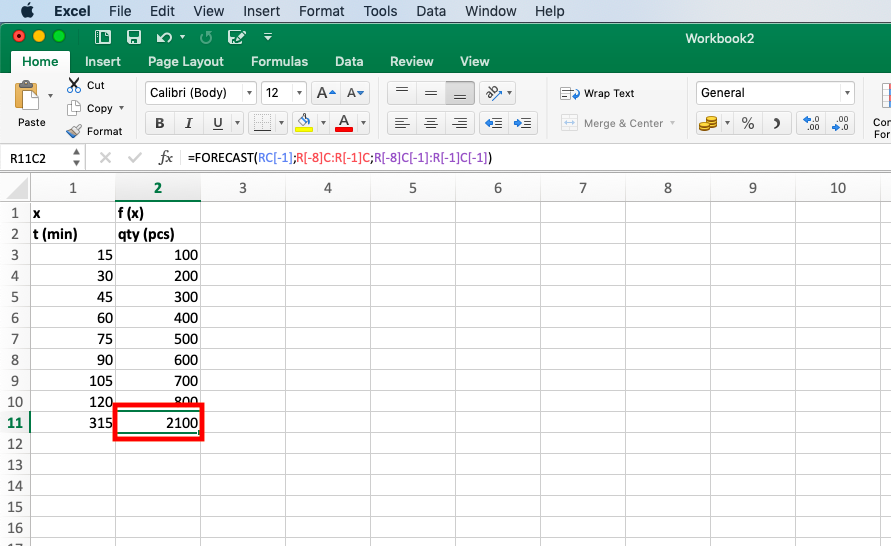 The desired result will appear in the corresponding cell - Extrapolate in Excel