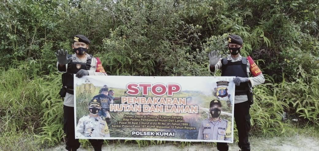 Polsek Kumai Lakukan Patroli Lahan Rawan Terbakar Di Desa Candi Dan Sungai Tendang