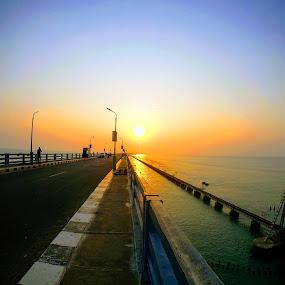 Sunset in Pamban Bridge by Abhisek Datta - Buildings & Architecture Bridges & Suspended Structures ( sunset, pamban, bridge, in )