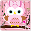 Pink Bow Owl Keyboard Theme download