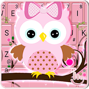 Pink Bow Owl Keyboard Theme