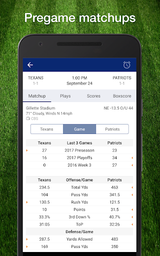 Football NFL 2017 Live Scores, Stats, & Schedules Screenshot