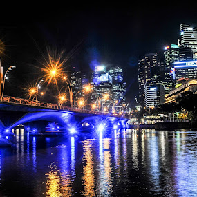 Under the bridge by Andi Firdaus - City,  Street & Park  Night ( dark, night, light, singapore, city, mood factory, color, lighting, moods, colorful, bulbs, mood-lites )