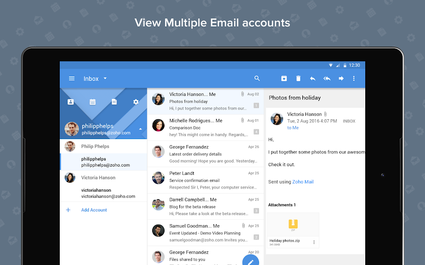 Screenshot 8 for Zoho Mail's Android app'