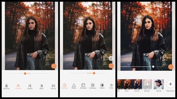 Tutorial de edição de uma foto de uma mulher com roupas de outono e uma paisagem de natureza atrás usando as ferramentas do AirBrush