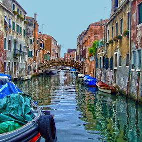 Street of boats by Ana Paula Filipe - City,  Street & Park  Street Scenes ( street, boat, veneza, city, river,  )